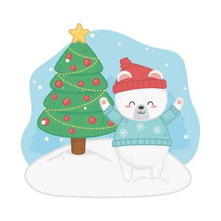 happy merry christmas card with bear teddy and pine vector illustration design Çizim