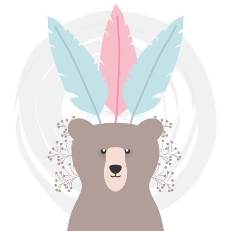 bear grizzly with feathers hat bohemian style vector illustration design Çizim