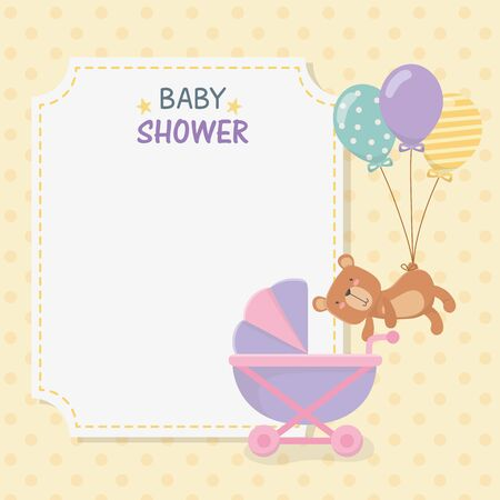 baby shower card with little bear teddy and balloons helium vector illustration
