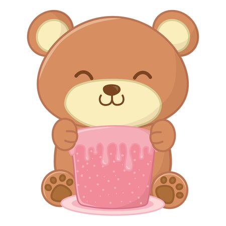 toy bear holding a cake Иллюстрация