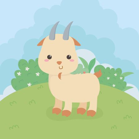 cute goat animal farm character vector illustration design