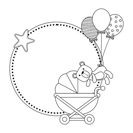 Baby shower symbol design, Invitation party card decoration love celebration arrival and born theme Vector illustration
