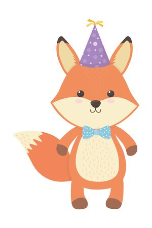 Fox cartoon design, Animal happy birthday celebration decoration and surprise theme Vector illustration