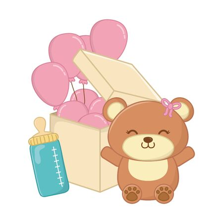 toy bear with feeding bottle and round shaped balloon into a box vector illustration graphic design