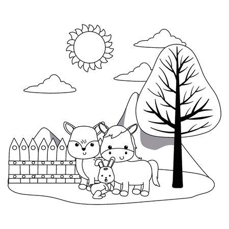 Donkey rabbit and deer cartoon vector design