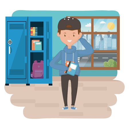 Boy cartoon of school design Illustration