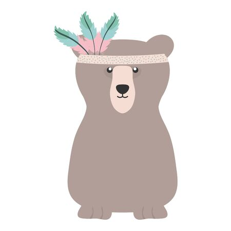 bear grizzly with feathers hat bohemian style vector illustration design Illustration