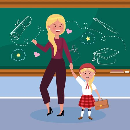 mother with her girl students and suitcase and uniform to back to school vector illustration