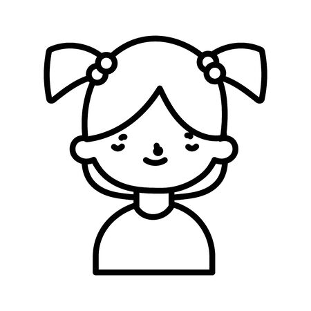 cute little girl happy cartoon character portrait vector illustration thick line