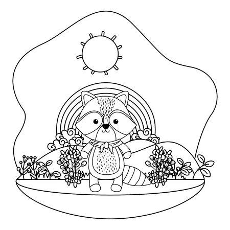 Raccoon cartoon with kerchief design, Animal cute zoo life nature and fauna theme Vector illustration