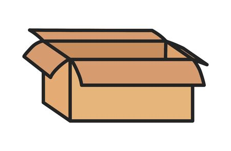 open cardboard box storage package icon on white background vector illustration