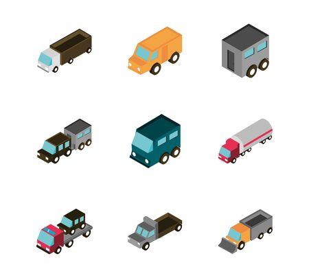 transport car truck vehicles isometric icons set vector illustration Stock Vector - 136645050