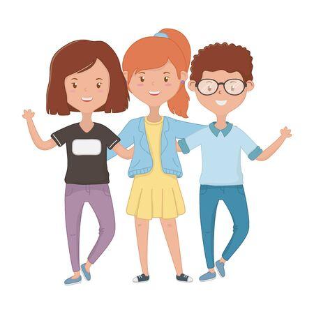 Diseño de niñas y niños, amistad juntos amigos gente feliz y tema joven ilustración vectorial