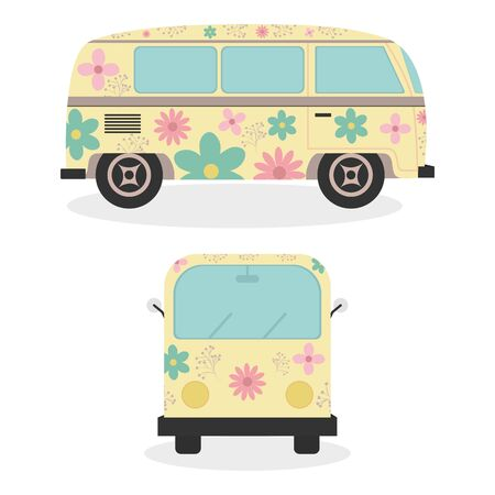 hippie vans with floral print vehicles vector illustration design