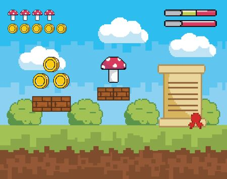 pixelated videogame scene with coins and fungus with letter vector illustration