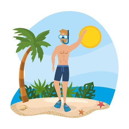 man wearing bathing shorts with snorkel masks and leaves plants to summer time vector illustration