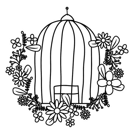 cage bird jail with floral decoration vector illustration design