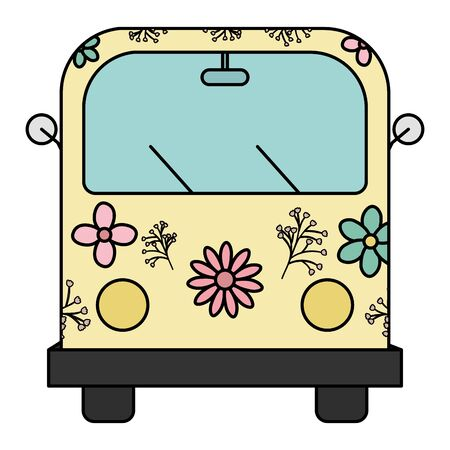 hippie van with floral print icon vector illustration design