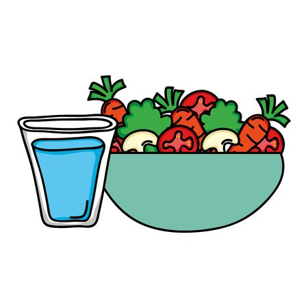 dish bowl with vegetables salad and water glass vector illustration design