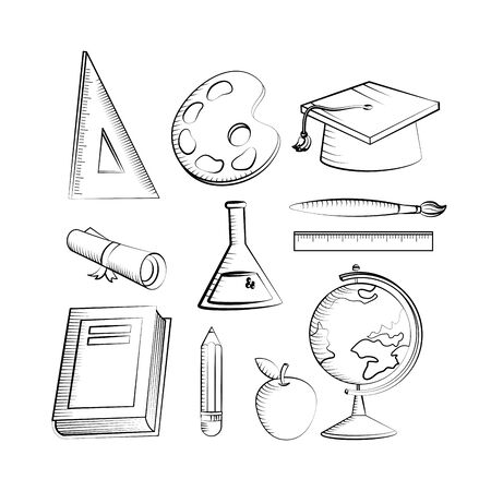 outline set of education creative elementary to back to school vector illustration