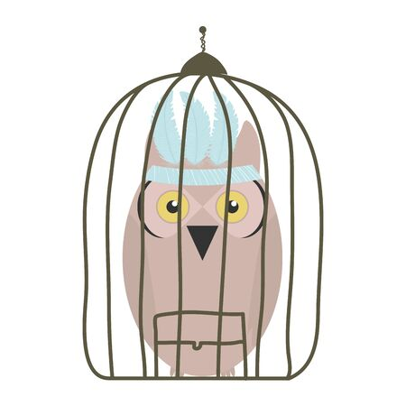 owl bird with feathers hat in cage bohemian style Ilustração