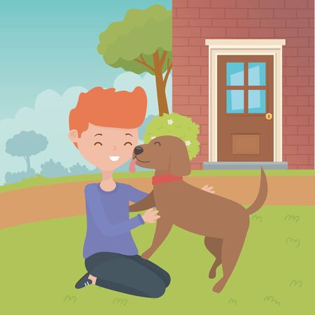 Boy with dog cartoon design Vectores