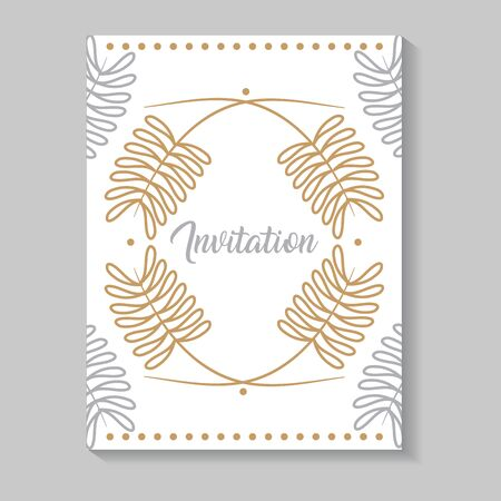 invitation card with leafs golden calligraphy vector illustration design 向量圖像