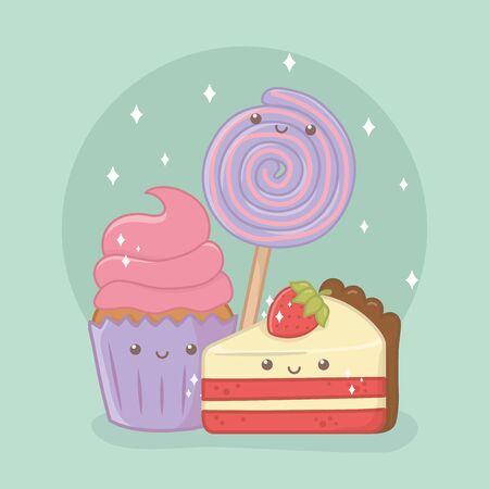 cupcake délicieux et sucré et produits kawaii personnages vector illustration