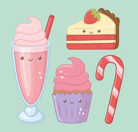 delicious and sweet products kawaii characters vector illustration design
