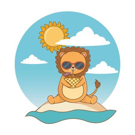 summer vacation relax cartoon vector illustration