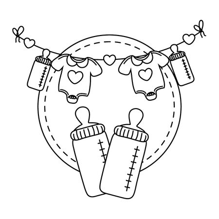 round frame with feeding bottle and baby clothes in black and white Ilustrace