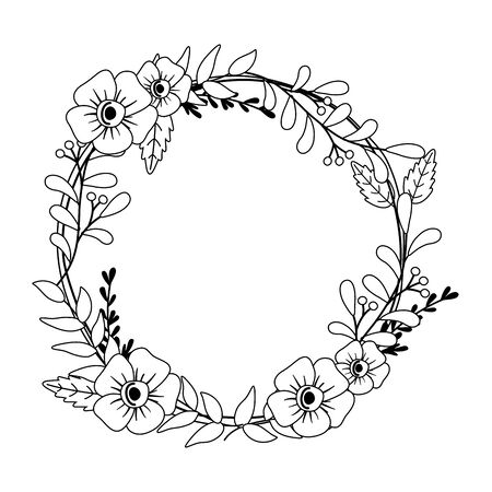 Flowers and leaves wreath design