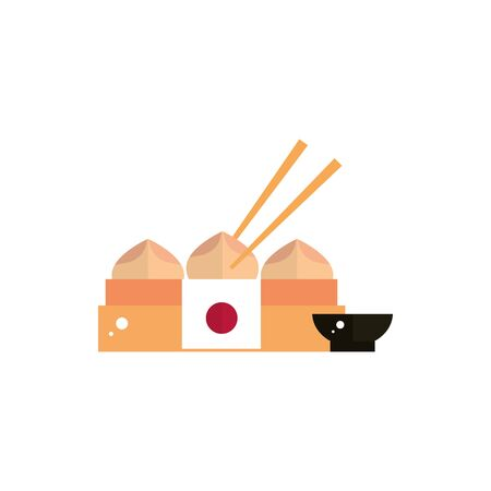 delicious chinese dumpling sauce food japan icon vector illustration