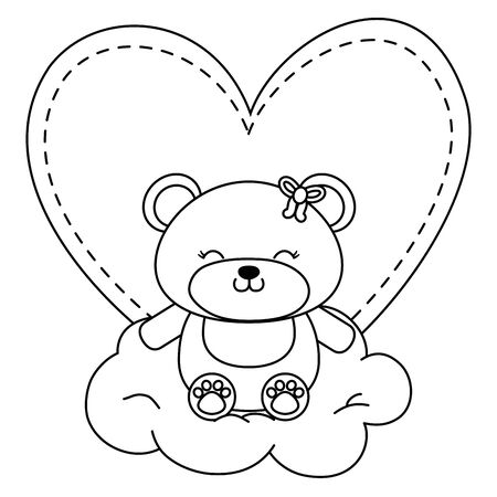 toy bear with bow sitting on a cloud and a heart behind vector illustration graphic design