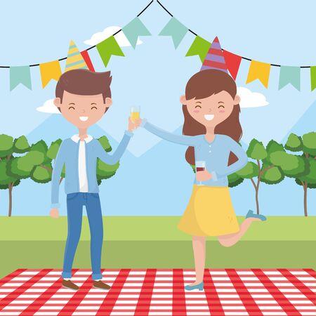 Frau und Mann Cartoon mit Picknick-Design, Food Party Sommer Outdoor Freizeit gesundes Frühlingsessen und Mahlzeit Thema