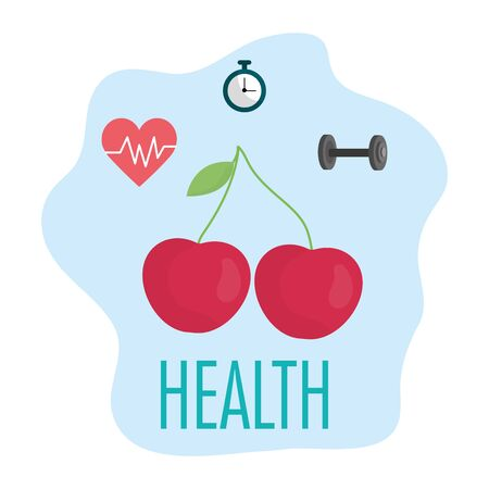 fresh cherries heartbeat chronometer and barbell health food Vectores