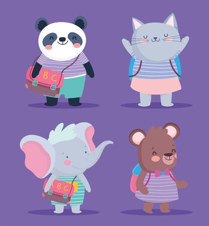 back to school cute animals striped clothes and backpacks education vector illustration