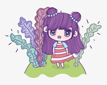kids, cute little girl cartoon anime and leaves foliage vector illustration