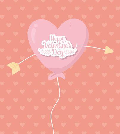 happy valentines day balloon shaped heart pierced for arrow love vector illustration Illustration