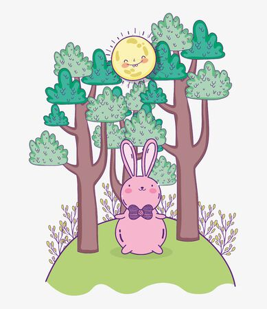 cute pink rabbit with bow tie in the park trees sunny day Illustration