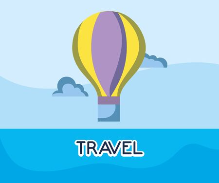 hot air balloon adventure tourist vacation travel vector illustration