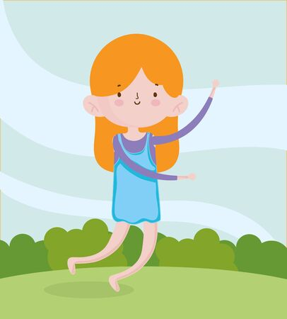 childrens day, little girl jumping in the field vector illustration Foto de archivo - 136845927