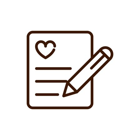 writing note paper love heart romantic passion feeling related icon vector illustration thick line