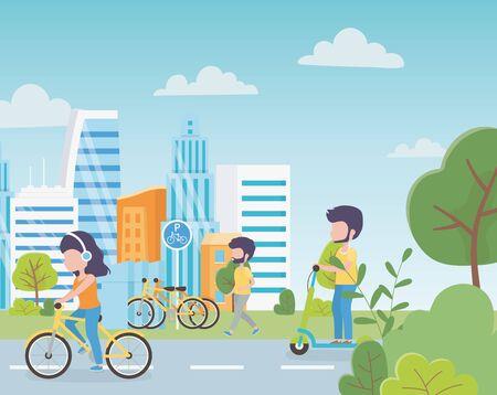 écologie urbaine, stationnement, vélos, femme, dans, bicyclette, homme, dans, scooter électrique, gens, marche, rue, ville, vecteur, illustration