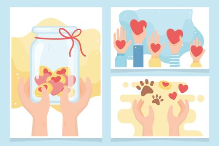 volunteering, help charity donation money protection love animals cards vector illustration