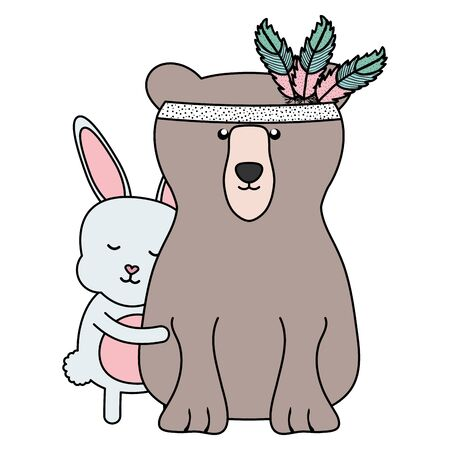 bear grizzly and rabbit with feathers hat boho style vector illustration design