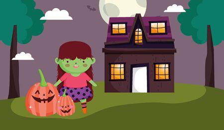 girl wicth pumpkins house costume halloween vector illustration Illustration