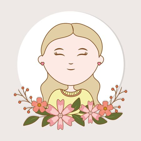 girl flowers label decoration cartoon 矢量图像