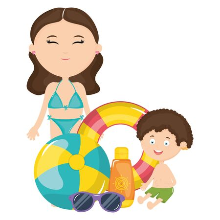 beautiful woman and son with swimsuit characters