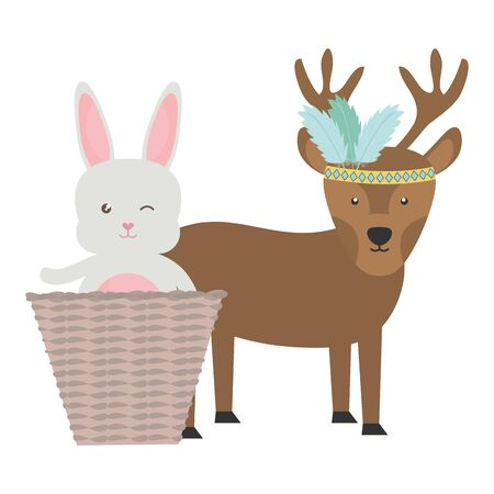 reindeer and rabbit with feathers hat and basket bohemian style vector illustration